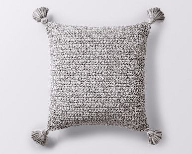 Coyuchi Crocheted Tassel Organic Pillow Cover - Gray