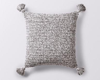 Coyuchi Crocheted Tassel Organic Pillow Cover - Gray