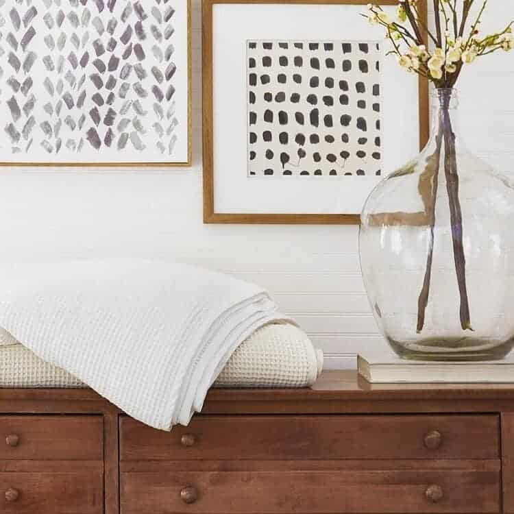Boll & Branch Waffle Bed Blanket - White - Natural