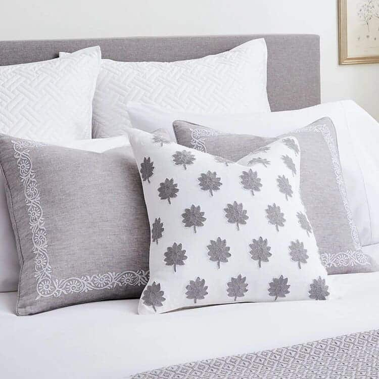 Boll & Branch Embroidered Vine Decorative Pillow Cover - Pewter/White Vine