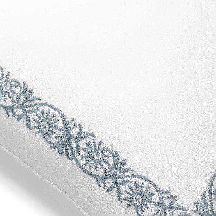 Boll & Branch Embroidered Vine Decorative Pillow Cover - White/Shore Vine