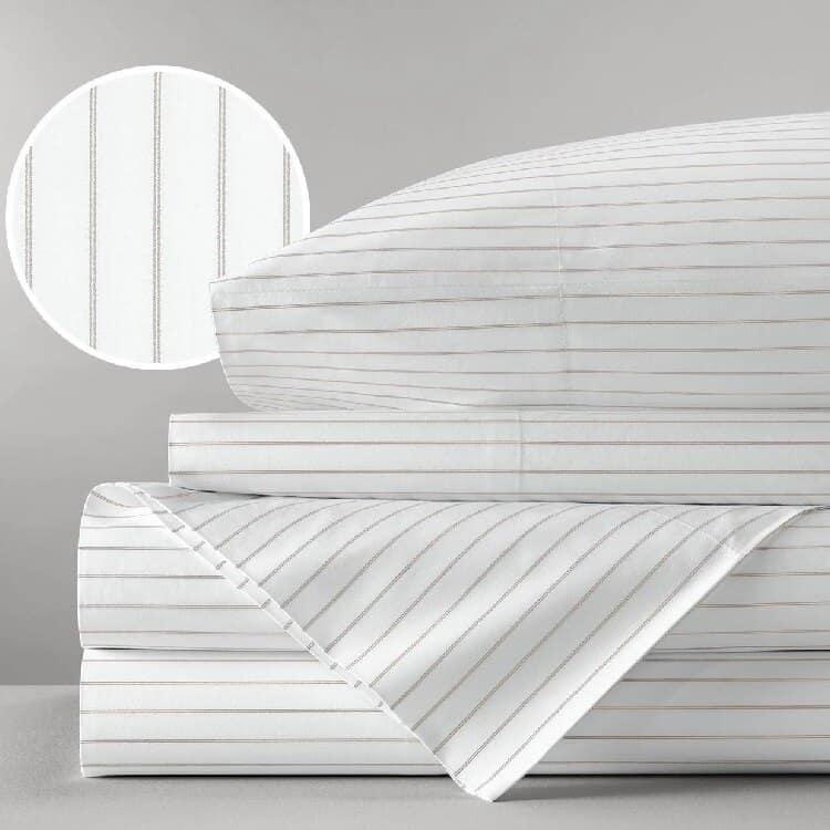 Boll & Branch Percale Simple Stripe Sheet Set