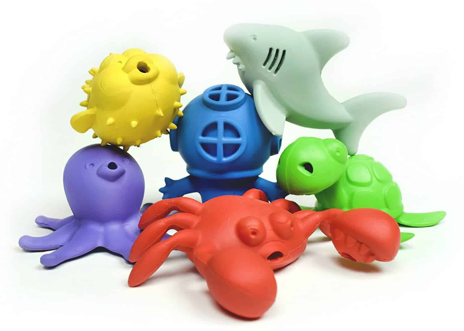 BeginAgain Bathtub Pals Eco-Friendly Natural Rubber Water Toy - 6-Pack, 2 and Up