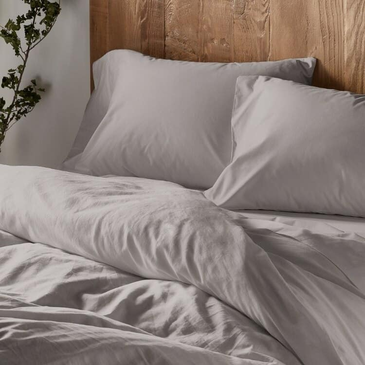 Coyuchi 300 Thread Count Organic Sateen Sheets - Mid Grey
