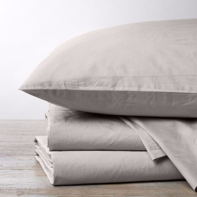 Coyuchi 300 Thread Count Organic Percale Sheets - Pewter