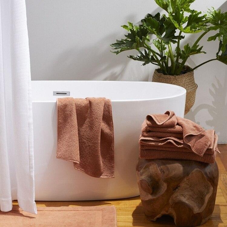 Air Weight Organic Bath Mat - Dusty Coral