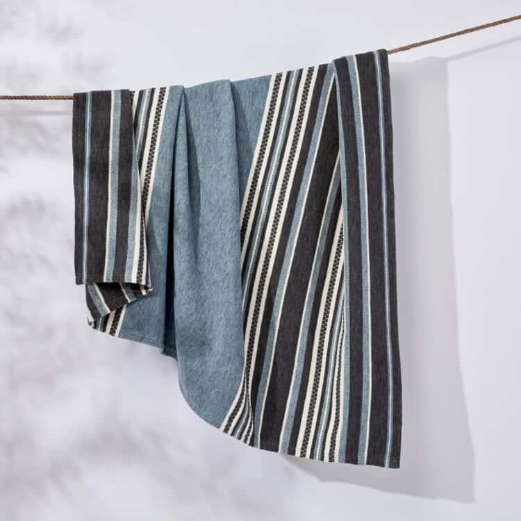 Coyuchi Mariposa Supersoft Organic Cotton Blanket - Aqua Multi Stripe