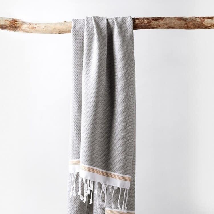 Coyuchi Mediterranean Organic Towels - Deep Pewter w Tangerine Stripe