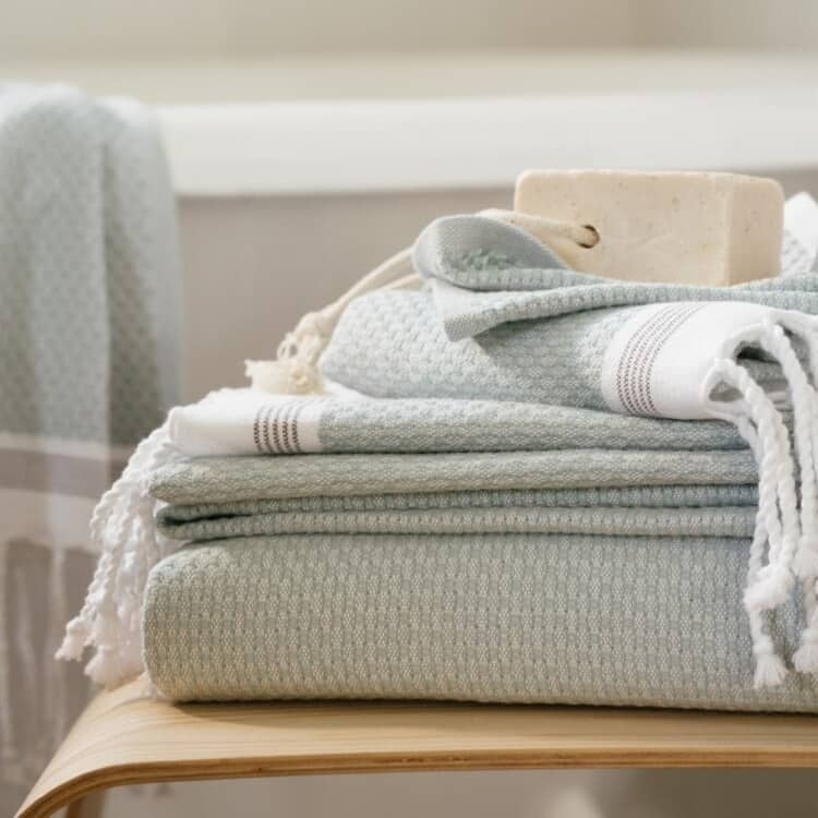 Coyuchi Mediterranean Organic Towels  - Sea Spray w Slate 02