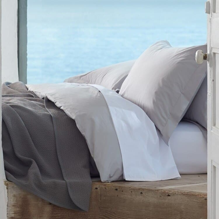 Coyuchi 300 Thread Count Organic Percale Pillowcase - Pewter