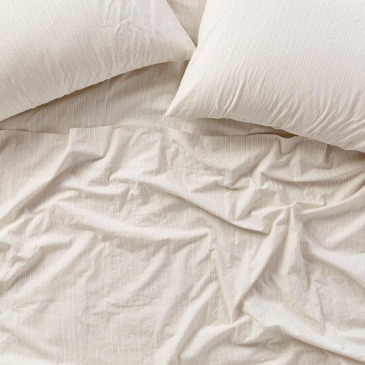 Coyuchi Organic Crinkled Percale Pillowcases - Undyed w Indigo-MidGray