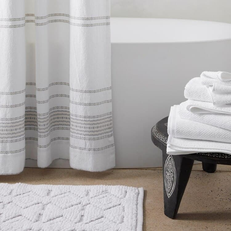 Coyuchi Rippled Stripe Organic Shower Curtain