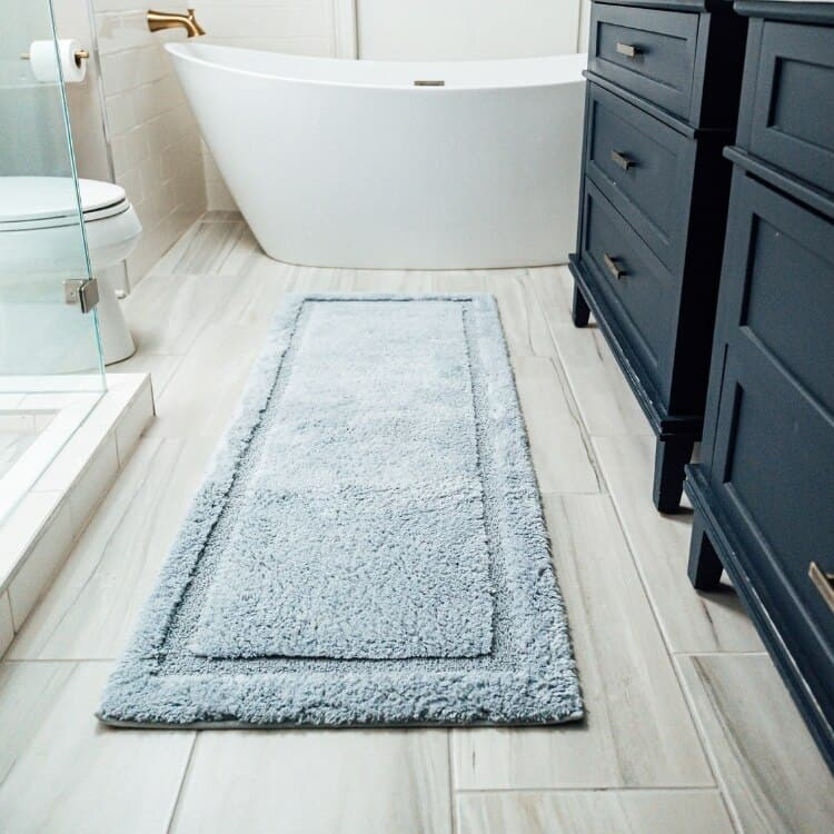 Grund Organic Cotton Bath Rugs  Asheville Collection - Denim Blue