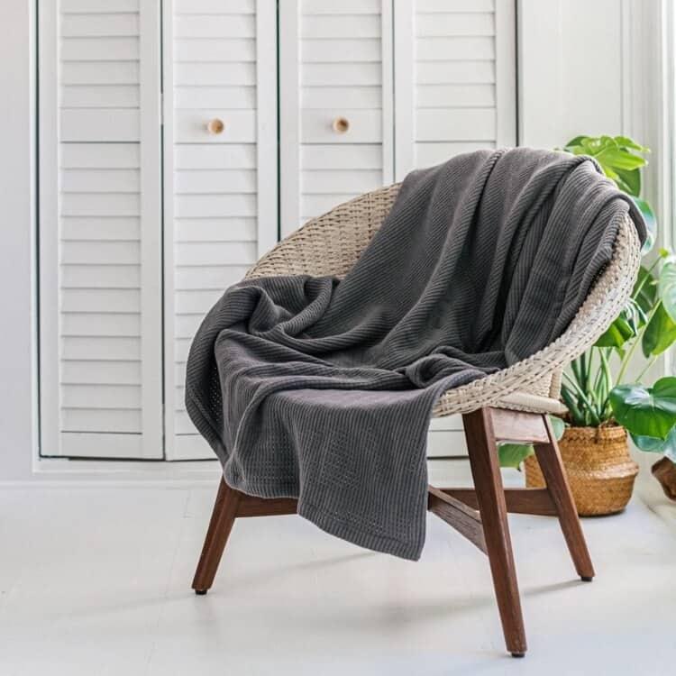 Grund Sea Pines Organic Throw Blankets - Slate Gray
